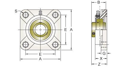 UCFPL207-22MZ2RFB AMI 1-3//8 ZINC SET SCREW RF BLACK 4-BOLT FLANGE NEW!
