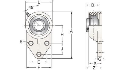 UCFBL205-16MZ2RFW AMI NEW! 1 ZINC SET SCREW RF WHITE 3-BOLT FLANGE BRACKET