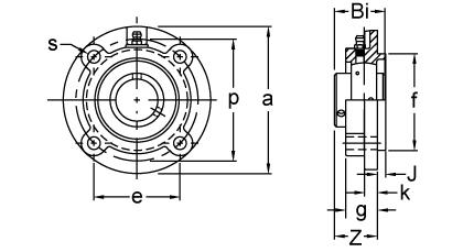 AMI UCFPL206-18MZ2RFCB 1-1//8 ZINC SET SCREW RF BLACK 4-BOLT FLANGE OPN COV